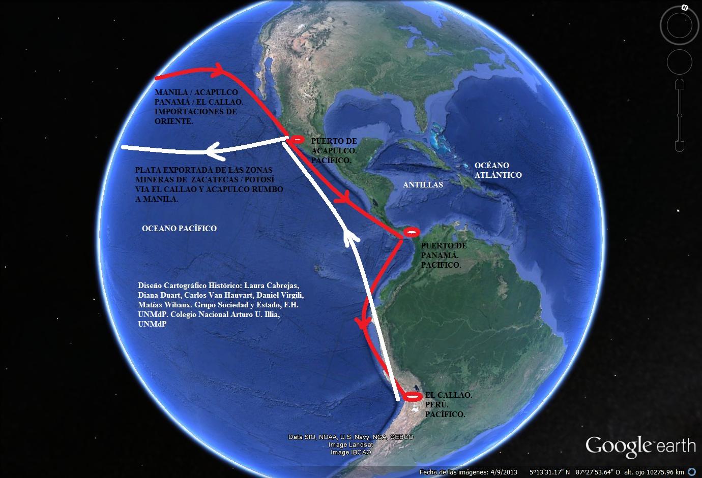 Mapa de las rutas comerciales en el Océano Pacífico entre las Filipinas y el Imperio Español en América.