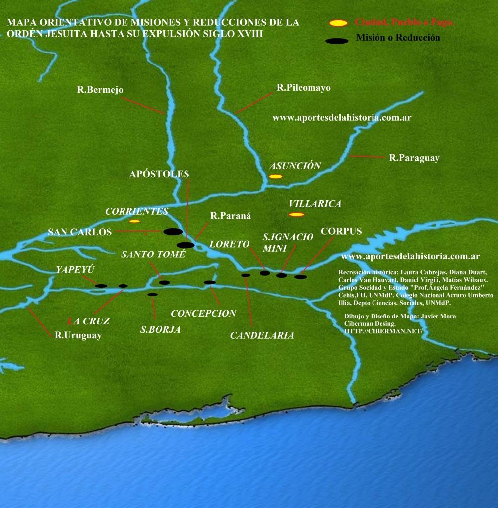 Mapa de las misiones Jesuíticas en el Virreinato del Río de la Plata en el siglo XVIII