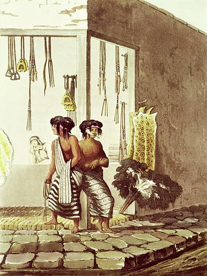 XZL151516 Pampa Indians at a Store in the Indian Market of Buenos Aires, from 'Picturesque Illustrations of Buenos Aires and Montevideo', engraved by J. Bluck (fl.1791-1819) 1820 (coloured engraving) by Vidal, Emeric Essex (1791-1861) (after); Private Collection; Brazilian, out of copyright